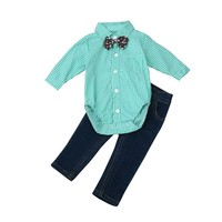 Baby Boy Clothes 2017 Fashion Toddler Kids Baby Boys Outfit Clothes Infantil Tie Plaid Tops Shirt+Jeans Long Pants 1Set