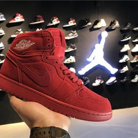 Air Jordan 1 Retro AJ1 Red Suede Men Women Sneaker