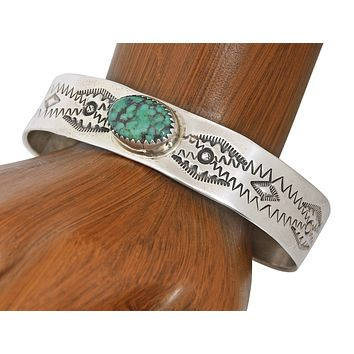 VTG 1980's Navajo Signed Marcella James Natural Green Turquoise .925 Cuff