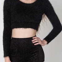 Black Mohair Cropped Sweater