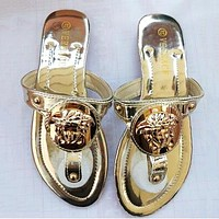 Versace Summer Popular Women Casual Flat Sandal Slippers Shoes Golden