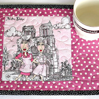 Quilted Mug Rug, Paris Mug Rug, Snack Mat, Pink Mug Rug, Notre Dame, Paris Holiday, Gift for Nurse, Quiltsy Handmade