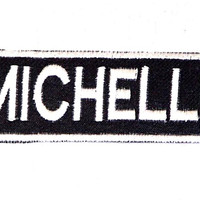 MICHELLE Black and White Name Badge Iron on Patch for Biker Vest and Jacket NB309