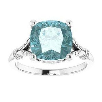 A Handmade Natural 10K White Gold 9mm x 9mm Antique Square Sky Blue Topaz Engagement Ring