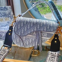 DIOR Hot Sale Grey Embroidered Letters Lady Temperament Saddle Bag Shopping Shoulder Bag Messenger Bag