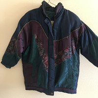 Floral Winter Coat Windbreaker Vintage Oversized XL