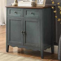 Two tone vintage blue finish wood hall console sofa table with scroll bottom design wine cabinet with doors and drawers