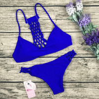 8DESS Weave V-neck Beach Bikini Swimwear Swimsuit