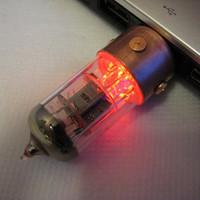 16GB RED Pentode usb flash drive. Steampunk/Industrial