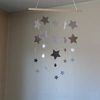 Falling Stars hanging mobile! White, Grey, Silver sparkle Star Mobile. Baby Nursery mobile, Crib mobile. Boy/Girl/Teen/Tween mobile.