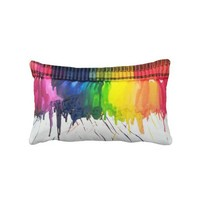 Rainbow melted crayon art throw cushion pillow from Zazzle.com