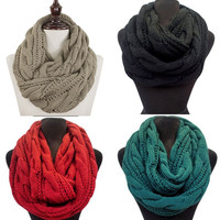 Infinity Cable Knit Scarves: Thick Hand Knit
