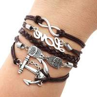 Cute Owl Love Anchor Multilayer Knit Leather Rope Chain Charm Bracelet Gift (Color: Black) = 1958434116
