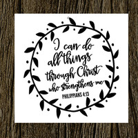 Christian Vinyl Decal | Bible Verse Decal | Faith Decal | All Things Through Christ | Yeti Decal | iPhone Decal | MacBook Decal |  | 191