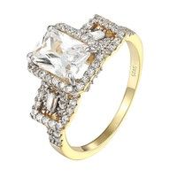 Solitaire Princess Cut Ring 14k Gold Over .925 Sterling Silver Cubic Zirconia