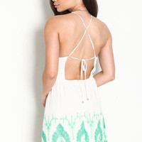 EMBROIDERED CROCHET STRAPPY DRESS
