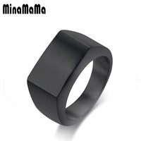 Signet ring Simple Black Gold Color Rectangle Surface 316L Stainless Steel Seal ring for Men Cool Male Gift Jewelry