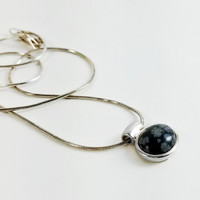 """Snowflake Obsidian Cabochon - Snowflake Pendant Necklace - Sterling Black and Gray Pendant - 16"""" Sterling Necklace Pendant"""