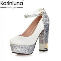 KarinLuna 2018 Top Quality Large Size 32-43 Bling Upper Pumps Shoes Women High Heels Sexy Party Wedding Bride Shoes Woman