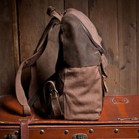 Brown Leather and Cotton Canvas Backpack Bag