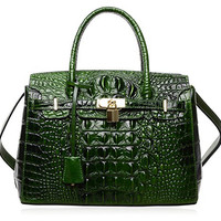 PIJUSHI Women's Padlock Handbags Genuine Leather Tote Crocodile Bag with Gold Hardware