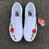 VANS Trending Women Men Casual Slip-On With Red Rose All White Flat Sport Shoe Sneake I
