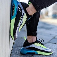 Bunchsun Nike Air Max 2090 Popular Women Breathable Sport Running Shoes Sneakers Green&Black&Blue