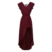 Open Back Ruffled Wrapped V Neck Sleeveless Maxi Romper Dress (CLEARANCE)
