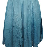 Mogul Interior Grace Womans Mini Skirt Rayon Blue Floral Embroidered Tiered A-line Sexy Summer Skirts.