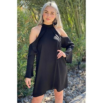 A Little Crush Black Cold Shoulder Shift Dress