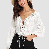 Plunging Lace Eyelet Embroidered Bodysuit