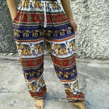 Yoga Harem Pants Elephant Print fabric Gypsy Hippies Boho Fashion exercise Trousers clothing Gypsy Tribal Clothes Summer Men women red blue