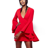 V-Neck Bell Sleeves Solid Color Mini Dress