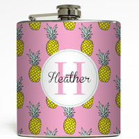 Pineapple Monogram - Personalized Flask