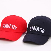 SAVAGE Red & Navy Embroidered Cotton Dad Hat