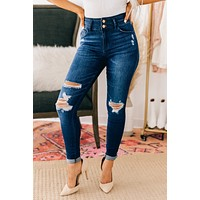 Off To Anywhere Distressed Skinny Kancan Jeans (Dark)