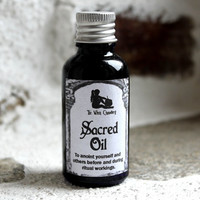 Ritual sacred oil, wiccan ritual oil, purification, cleansing, anointing oil, candle magic, ritual magic, essential oil blend, high magic