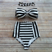 High Waist Navy Black and White Printed Bikini Top And Bottom