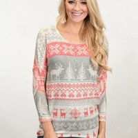 Home For The Holidays Sweater Top - Cream
