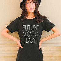 Cute FUTURE CAT LADY Design Style White and Black Reaclothstore