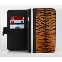 The Real Tiger Print Texture Ink-Fuzed Leather Folding Wallet Credit-Card Case for the Apple iPhone 6/6s, 6/6s Plus, 5/5s and 5c