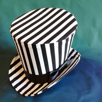 Striped Gothic Top Hat-Steampunk Circus Black and White Women's Top Hat-Halloween Top Hat-Nightmare Before Christmas Top Hat-Made to Order