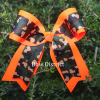 """2-1/4"""" Camouflage and Neon Orange Cheer Bow"""