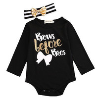 2016 Autumn Newborn Baby Girl Boy Long Sleeve Bodysuit Jumpsuit Headband Outfits Clothes Set