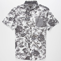 Retrofit Floral Mens Shirt Black/White  In Sizes