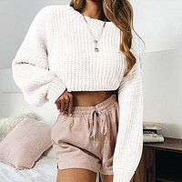 Chenille Pink Sexy Knit Sweater Women Casual Female Sweater Knitted Ladies Crop Sweater