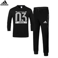 Adidas Number 03 autumn and winter new sports and leisure plus velvet warm two-piece Black