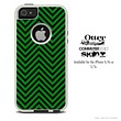 The Sharp Green & Black Chevron Pattern Skin For The iPhone 4-4s or 5-5s Otterbox Commuter Case