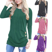 Round Neck Long Sleeve Buttons T-Shirt