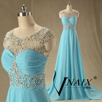 2014 New Arrival A Line Cap Sleeve Keyhole Back Beaded Turquoise Crystal A Line Long Formal Crystal Prom Dresse Formal Evening Dresses